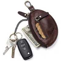 GZCZ Genuine Leather Car Key Holder Key Bag