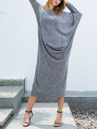 Plus Size Casual Women Batwing Sleeve Dress