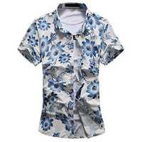 Hawaii Holiday Beach Seaside Flowers Printing Short Sleeve Leisure Men Shirts Plus Size S-5XL