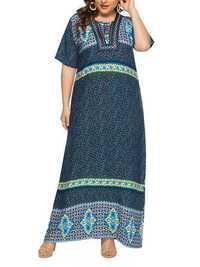 Women Ethnic Print Half Sleeve Kaftan Long Dress