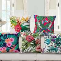Decorative Throw Pillow Case Fashion Cotton Linen Tropical Plant Flowers Grass Cushion Cover Sofa Home Decor