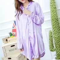 Ice Silk Thin Shirt Dress Pure Color Silky Sleepwear