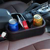 Multi-functional PU Leather Car Seat Crevice Storage Box Seat Gap Organizer Drink Cup Holder