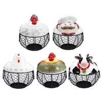 Rustic Farm Ceramic Lid Hen Egg Wire Storage Baskets Nest Kitchen Onion Fruit Holder