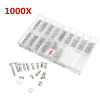Suleve™ MXAS2 1000pcs Glasses Sunglass Spectacles Screws Nut Repair Kit With a Plastic Case