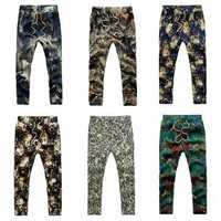 Mens Fashion Summer Slim Casual Joggers Pants Flower Printing Linen Trousers
