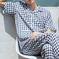 Soft Comfy Cotton Plaid Men Pajamas Lounge Sleepwear Suit