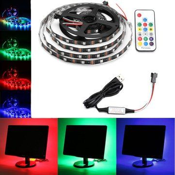 0.5M/1M/2M/3M/4M/5M USB RGB 5050 Non waterproof WS2812 LED TV Strip Light+Remote Control Kit DC5V