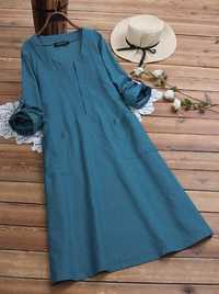 Women Vintage Solid Color V-Neck Shirt Dress with Pockets