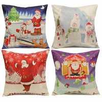 Christmas Santa Claus Gift Cotton Linen Throw Pillow Case Sofa Home Car Cushion Cover