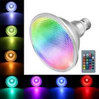 E27 10W COB PAR38 Spotlight RGB Color Changing LED Light Lamp Bulb Remote Control AC85-265V