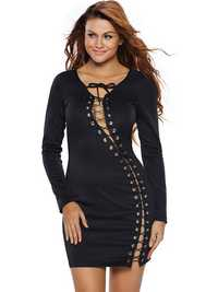 Women Black Sexy V-Necklace Up Long Sleeve Mini Dress