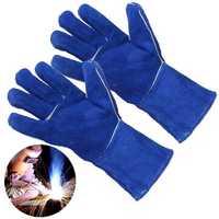 1 Pair Wood Burner Welder Gauntlets Fire High Temp Stoves Protection Long Gloves Blue