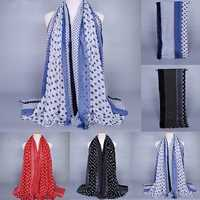 Women Girls Dots Printed Cotton Scarf Wrap Shawl Large Scarves Stole