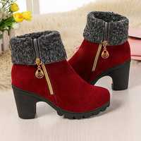 Ankle Fur Round Toe Winter Snow Chunky Heel Boots
