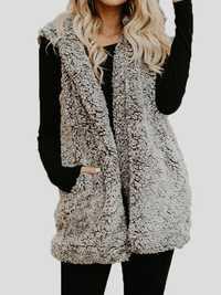 Solid Sleeveless Hooded Fluffy Fur Coat