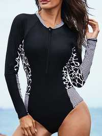 One-Piece Long Sleeve Zipper Swimwear