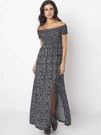 Sexy Off Shoulder Floral Print Slit Hem Women Maxi Dresses