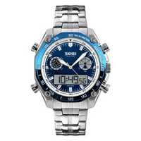 SKMEI 1204 Steel Strap Luminous Dual Dsplay Digital Watch