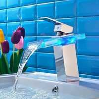 LED Bathroom Sink Faucet Waterfall Water Flow Chrome One Hole/Handle Vessel