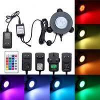 Aquarium Fish Tank RGB 6 LED Bubble Light Underwater Remote Controller