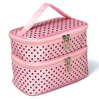 Portable Polyester Double Layer Makeup Cosmetic Toiletries Bag