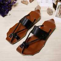 SOCOFY Leather Handmade Clip Toe Beach Slippers