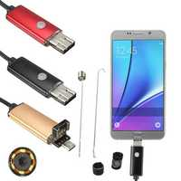 2M 6LED Micro USB Endoscope Inspection Borescope Camera 2M with Hook Magnet Mirror for Android PC