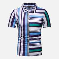 Mens Colorful Striped Printed Comfy Golf Shirts