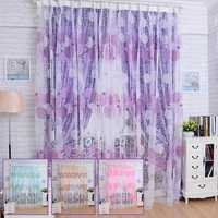 100x200cm Bird Nest Print Tulle Window Curtain Balcony Bedroom Bay Window Screen