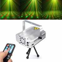 Silver Mini R&G Auto/Voice DJ Disco LED Laser Stage Light Projector Remote