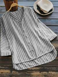 Vintage Stripe V-neck Irregular Blouse
