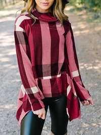 Women Elegant Turtleneck Long Sleeve Plaid Blouse