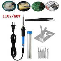 110V 60W Adjustable Electric Temperature Welding Soldering Iron Tool Kit Set