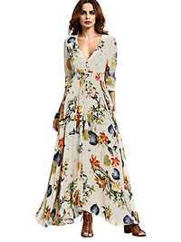 Gracila Bohemian Women Floral Print V-neck Split Maxi Dress