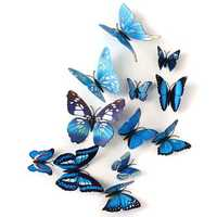 12Pcs 3D Blue Butterfly Wall Stickers Art Decals Home Wedding Party Decoration