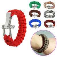 23cm U Shape Steel Buckle Outdoor Bracelet Parachute Cord Rope Woven EDC Survival Wristband