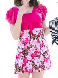 Floral Printing Ruffle Short Sleeves Swimdress