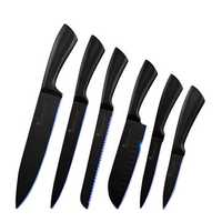 SOWOLL 6PCS Stainless Steel K-nife Set Kitchen Cutter Set Black Sharp Blade Labor Saving Kitchen Vegetable Cutter 3Cr13 Steel Vegetable Cutter