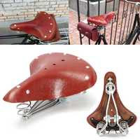 28x23x10cm Vintage Red Brown Bicycle Bike Cycling Genuine Leather Springs Saddle Seat