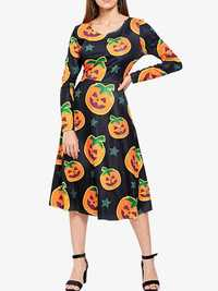Halloween Women Pumpkin Print Long Sleeve Party Dress