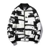 Mens Black White Fashion Casual Sport Slim Baseball Jacket