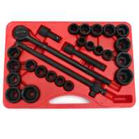 27pc 3/4 Inch Drive Impact Socket Set SAE and MM Ratchet Sliding Break Bar Pneumatic Wrench Tool Set