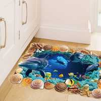 Miico Creative 3D Sea Shells Dolphins Removable Home Room Decorative Wall Floor Decor Sticker