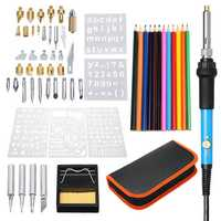 60Pcs 220V Wood Burning Pen Set Stencil Solder Iron Tips Tools Pyrography Kit