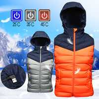 Orange Electric USB Heating Vest Jacket Three-gear Temperature Control With Detachable Hat Graphene