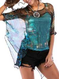Peacock Print Batting Sleeve Two Pieces Set