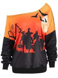 Halloween Pumpkin Bat Printed One Shoulder Sweatshirt