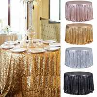 Round 47'' Sparkly Sequin Tablecloth Table Cloth Banquet Wedding Party Decor Tablecloth