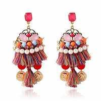 Bohemian Beads Crystal Pearl Tassel Statement Earrings Jewelry